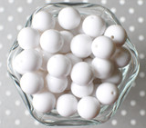16mm White solid bubblegum beads