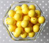 16mm Lemon yellow solid bubblegum beads