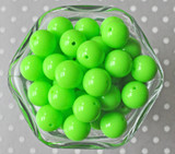 16mm Neon green solid bubblegum beads