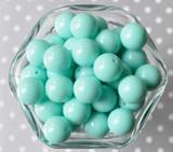 16mm Aqua solid bubblegum beads