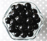 16mm Black solid bubblegum beads
