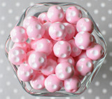 16mm Pink polka dot bubblegum beads