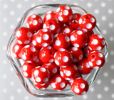 16mm Red polka dot bubblegum beads
