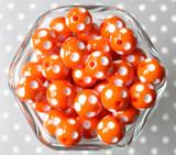 16mm Orange polka dot bubblegum beads