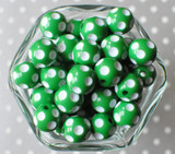 16mm Emerald green polka dot bubblegum beads