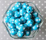 16mm Island Turquoise blue polka dot bubblegum beads