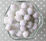 16mm White AB rhinestone bubblegum beads