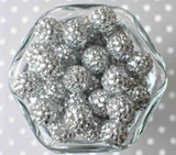 16mm Silver rhinestone bubblegum beads