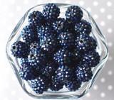 16mm Navy blue AB rhinestone bubblegum beads