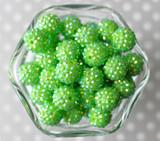 16mm Lime green rhinestone bubblegum beads