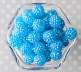 16mm Tropical blue AB rhinestone bubblegum beads