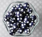 16mm Navy blue polka dot bubblegum beads