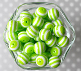 16mm Lime green striped bubblegum beads
