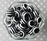 16mm Black striped bubblegum beads