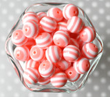 16mm Blush pink striped bubblegum beads
