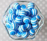 16mm Azure blue striped bubblegum beads