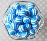 16mm Azure blue striped bubblegum beads