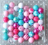 Shocking pink and turquoise bubblegum bead wholesale kit