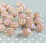 20mm Pink and Gold AB striped rhinestone bubblegum beads