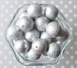 20mm Silver stardust metallic bubblegum beads
