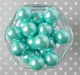 20mm aqua pearl bubblegum bead for chunky style beaded necklaces