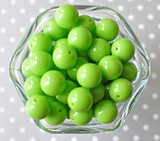 16mm Lypple lime green solid bubblegum beads