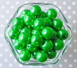 16mm Emerald green pearl bubblegum beads
