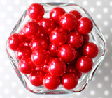16mm Red pearl bubblegum beads
