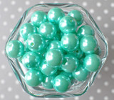 16mm Aqua pearl bubblegum beads
