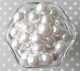 16mm White pearl bubblegum beads