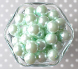 16mm Pale mint pearl bubblegum beads
