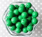 16mm Emerald green solid bubblegum beads