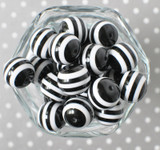 20mm black and white striped bubblegum beads for chunky style necklaces