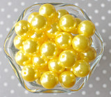 16mm Lemon yellow pearl bubblegum beads