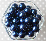16mm Navy blue pearl bubblegum beads