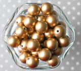 16mm Matte Gold pearl bubblegum beads