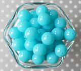 16mm Ocean blue solid bubblegum beads