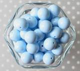 16mm Cornflower blue solid bubblegum beads