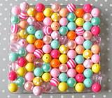 16mm Merry and Bright pink, aqua, yellow, orange  bubblegum bead mix