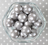 20mm Grey polka dot bubblegum beads for chunky necklaces
