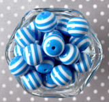 20mm Azure blue and white striped bubblegum beads for chunky necklaces