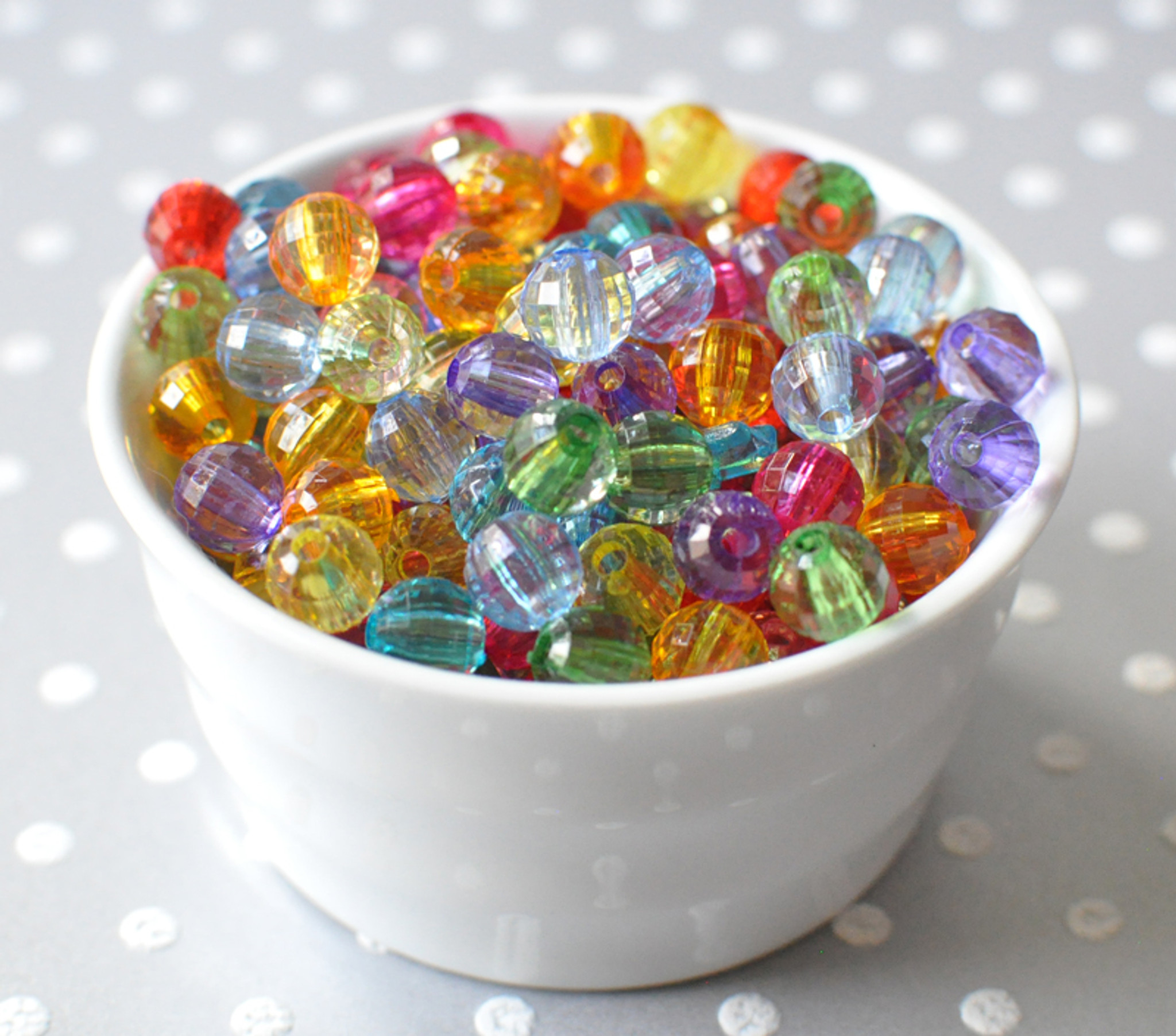 8mm Disco faceted multi-color acrylic beads