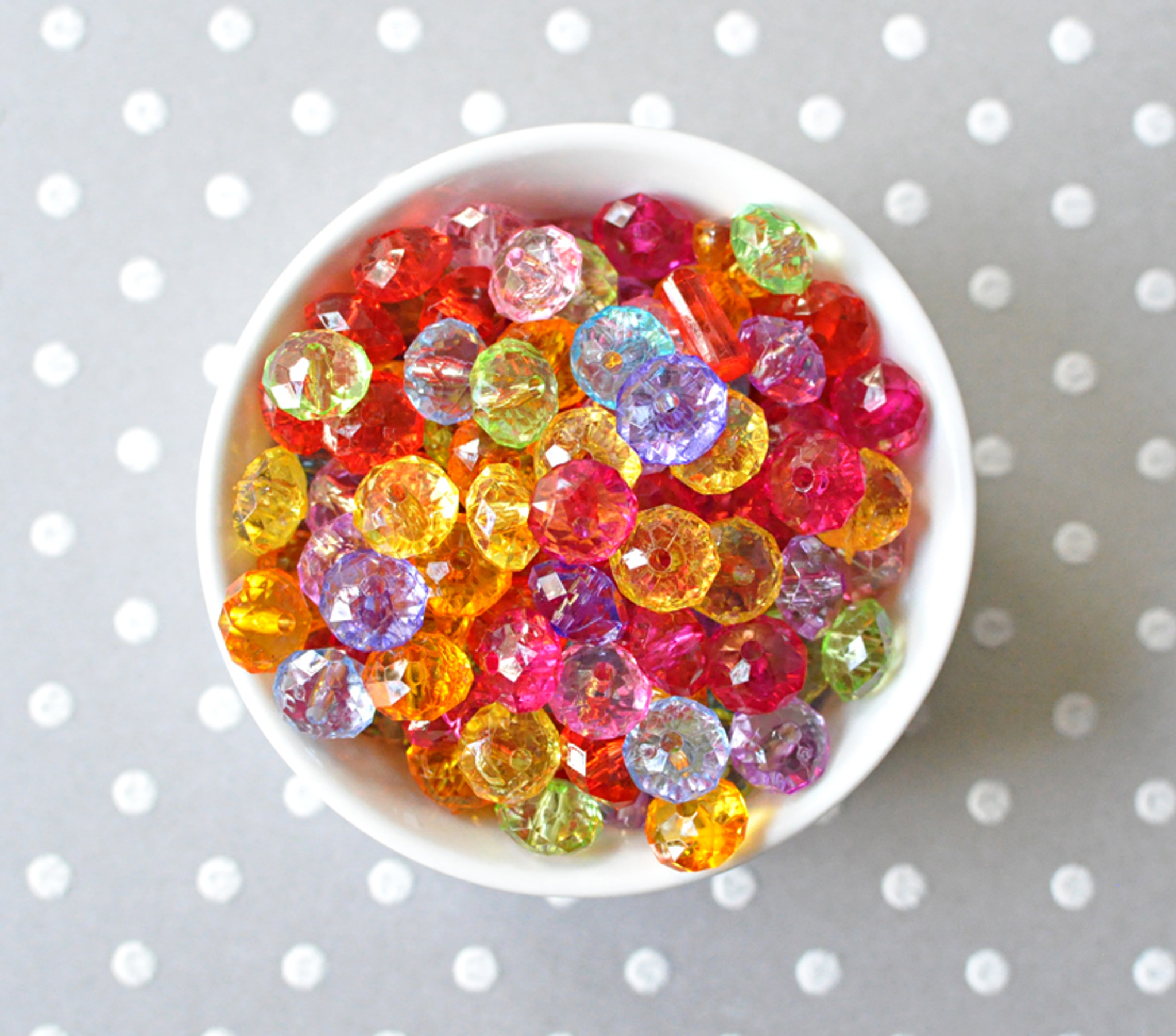 10mm Faceted rondelle multi-color acrylic beads