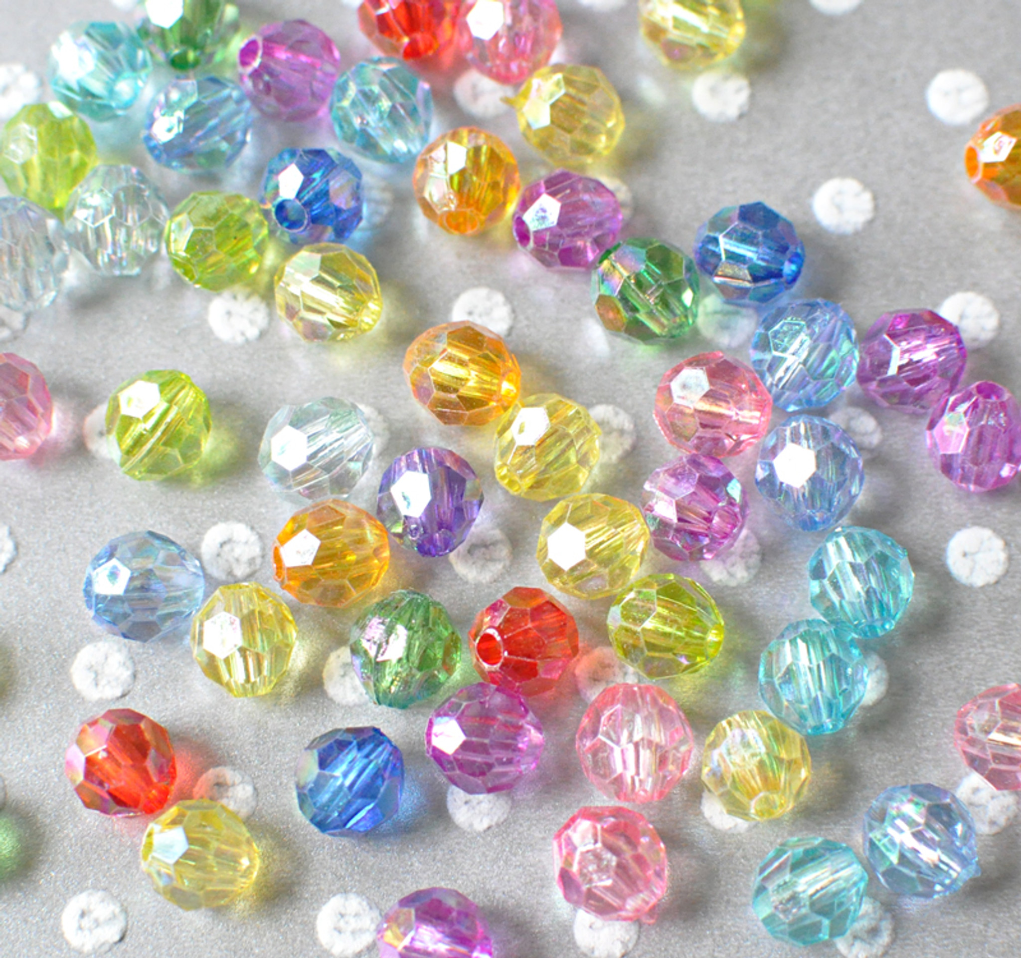 8mm Faceted AB multi-color acrylic beads