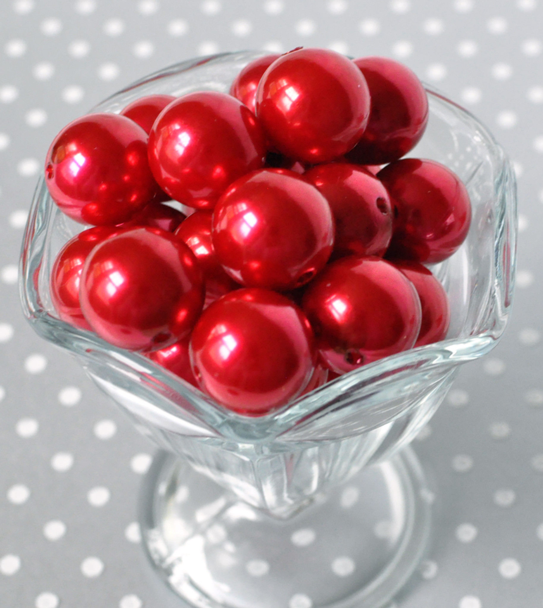 20mm Red pearl bubblegum beads for kid's jewelry