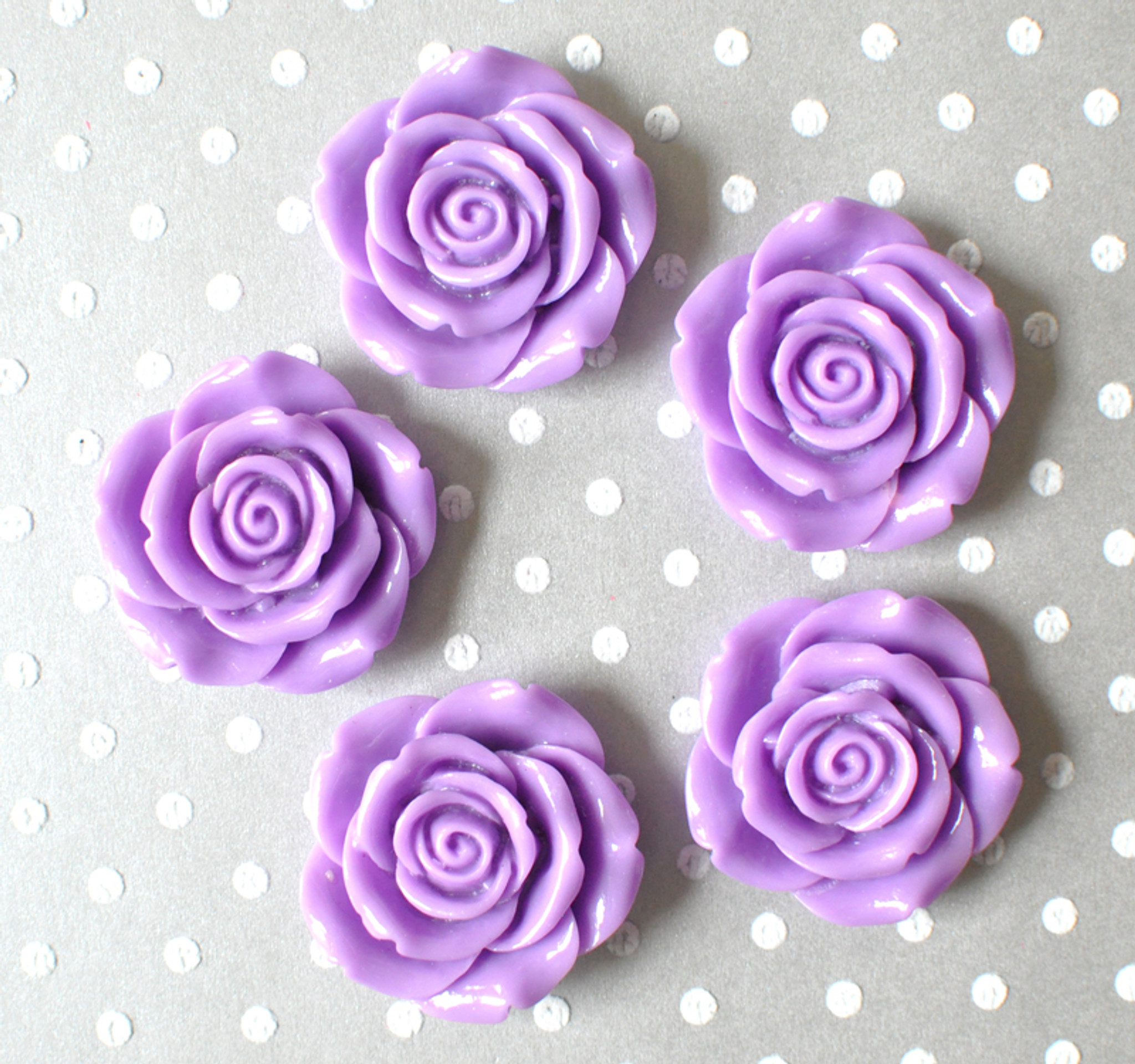 Orchid purple resin flower beads