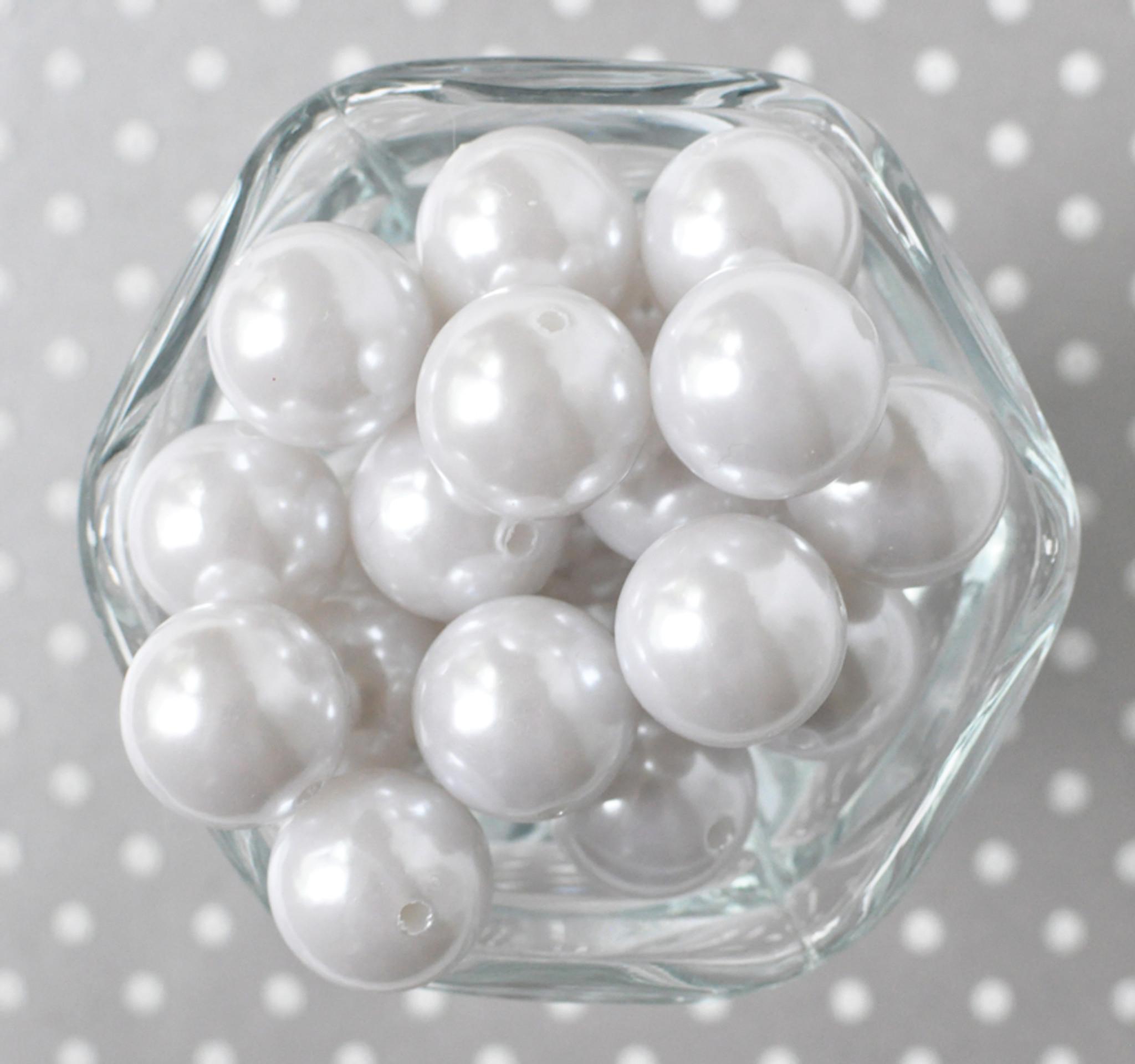 20mm White pearl bubblegum beads for DIY Children's jewelry supplies