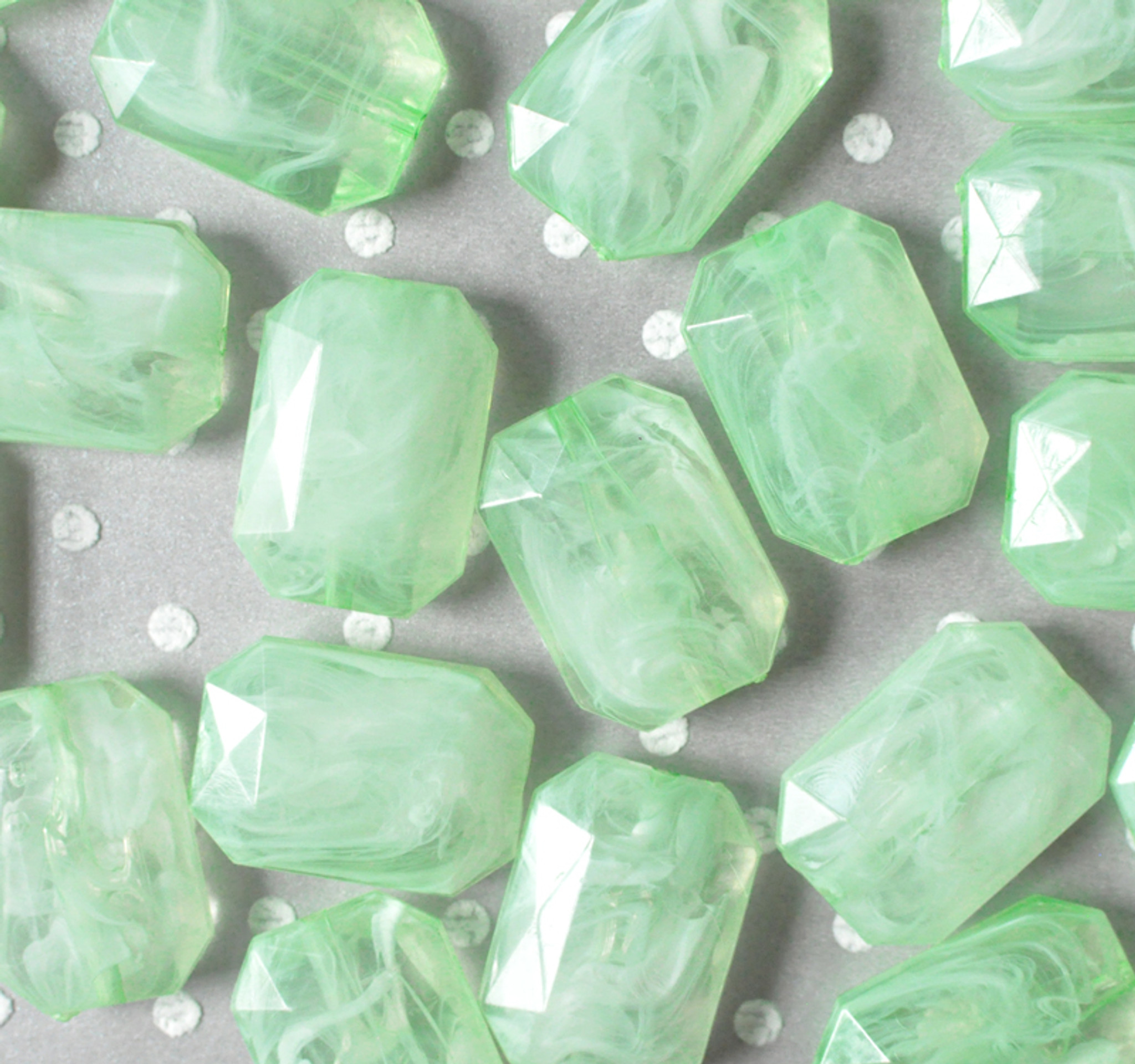 30mm Key lime green faceted rectangle nugget chunky statement beads