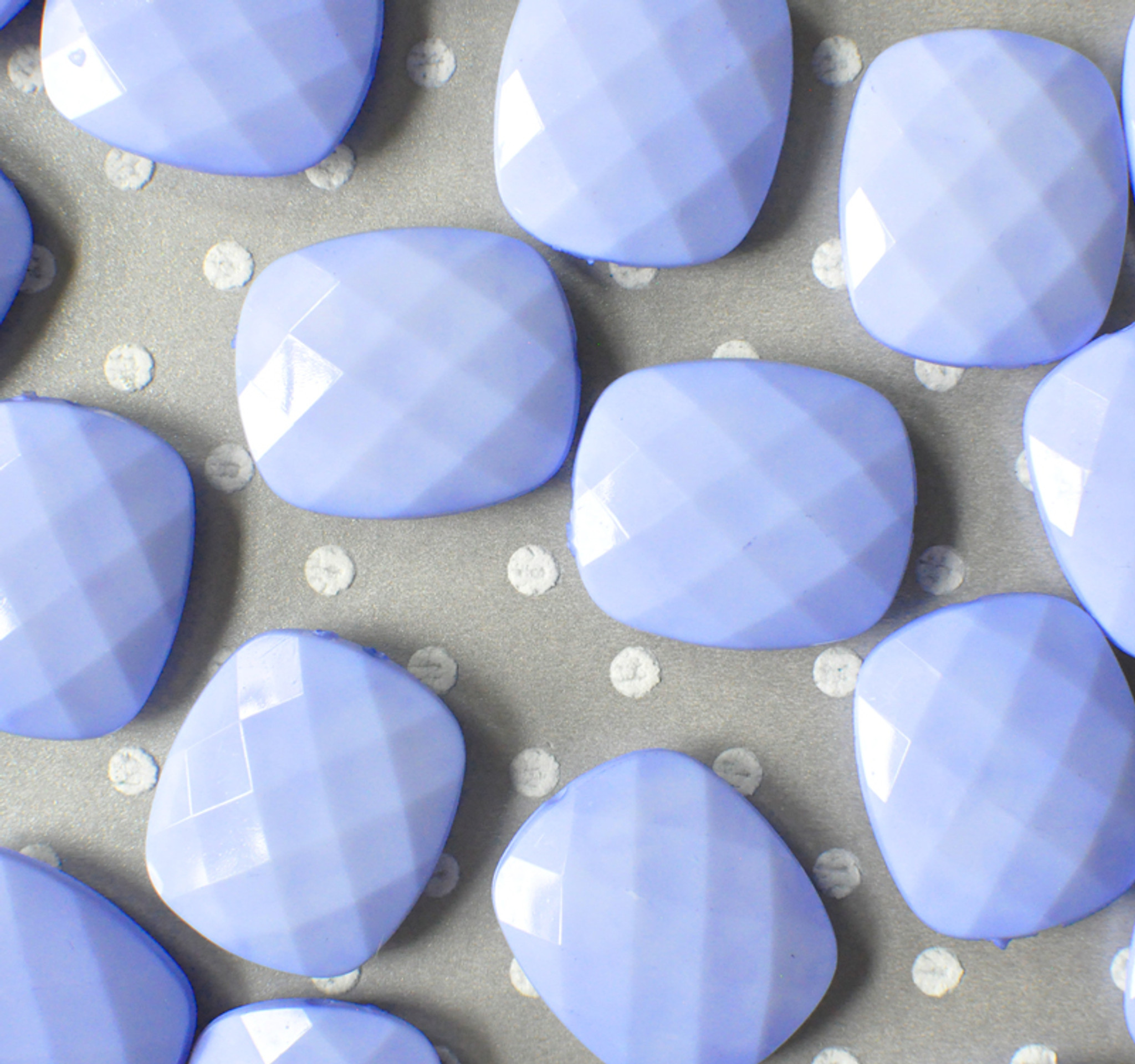 30mm Light bluebird faceted rectangular cushion acrylic beads