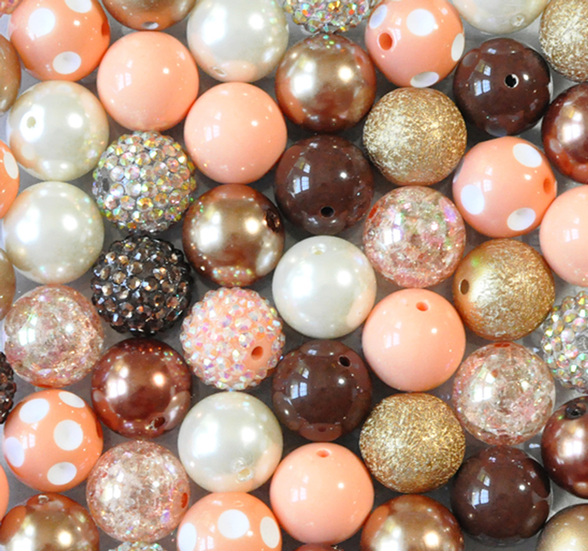 Peach, brown, and gold bubblegum bead wholesale kit